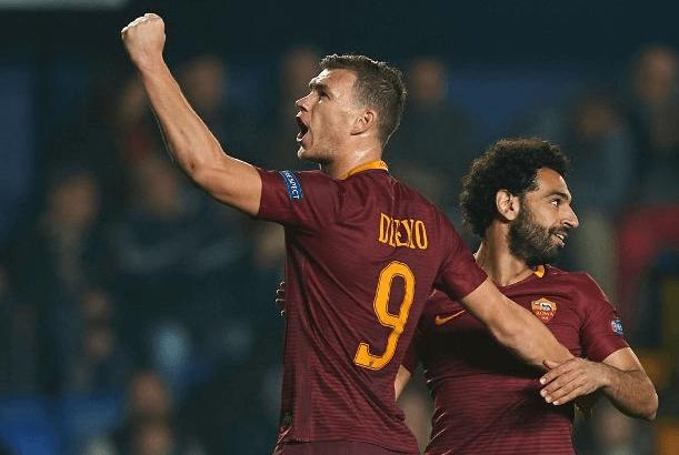 Edin Dzeko och Mohamed Salah i Roma